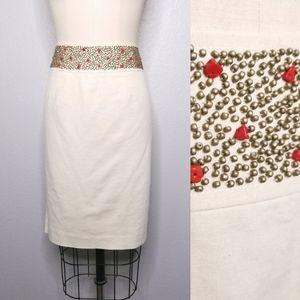 Evelyn linen blend pencil skirt beaded waist skirt